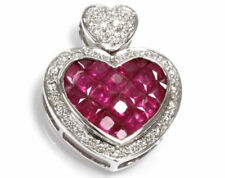 3.1 ctw Natural Deep Red Ruby & Diamond Solid 14k White Gold Heart Pendant 0.9""