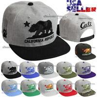 Baseball Cap CALI California Republic Bear Embroidered Snapback Hat Flat Visor