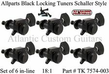 6 In Line BLACK Mini LOCKING TUNERS for Fender  Strat & Tele 18:1  TK-7574-003