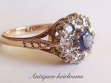 Vintage 9ct Gold Blue Topaz Cluster Ring Full English Hallmark 9ct 375 Quality