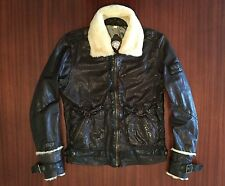 New DIESEL B-3 Bomber Brown Leather Jacket 100% Sheepskin Fur Collar Men's M L