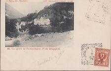 Svizzera . Valle Bregaglia, un Saluto da Promontogno, (1), viaggiata.