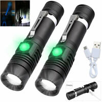 2Pcs LED Flashlights Surper Bright Zoomable USB Rechargeable Electric Torch
