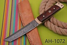 HAND FORGED DAMASCUS STEEL TANTO POINT HUNTING KNIFE & ROSE WOOD HANDLE AH-.1072