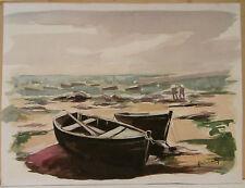 """Tableau Peinture Aquarelle PIERRE ABADIE LANDEL """" Les Barques au Port """"  PAL40"""