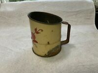 Vintage Flour Sifter Cream w/ Red Cherry Design Red Wooden Knob Works Farm Decor