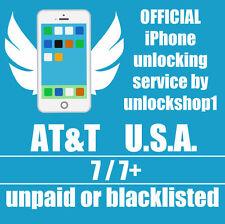 AT&T FACTORY UNLOCK PREMIUM 100% SERVICE IPHONE 7/7+ 6S 6 Plus 5 4S ATT ALL IMEI