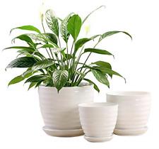 Fasmov Round Modern Ceramic Garden Flower Pots White Succulent Cactus Plant Set