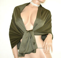 ÉTOLE foulard VERT femme châle maxi écharpe soie élégant bufanda estola G82