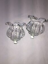 Set of 2 Ruffle Crystal Votive Cup Candle Holders Homco Home Interior