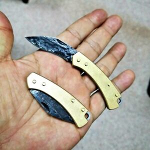 """Mini Drop Point Folding Knife Pocket Hunting Survival Tactical Damascus Steel 2"""""""