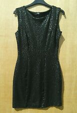 F & F size 8 fully lined fitted sequined little black dress