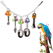 Pet Swing Bird Toy Parrot Metal Spoon String Cage Hang Toys Parakeet Cockatiel