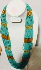 """32"""" Long Turquoise Gold Multi Strand Seed Bead Chunky Costume Necklace"""