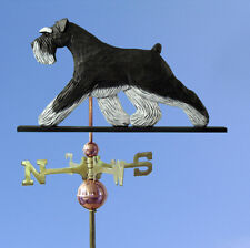 Schnauzer Uncropped Hand Carved Hand Painted Basswood Dog Weathervane Black/S.