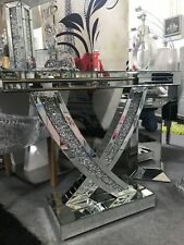 Stunning mirrored silver crushed crystal mirror glass console table, glitz table