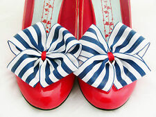 Nautical Stripe Shoe Clips 4 Shoes Ribbon Bows Party Pinup Retro Prom Navy White