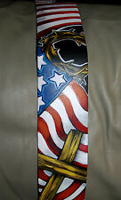 TATTOO Leather Guitar strap Patriotic American FLAG Christian ROCK Jesus cross