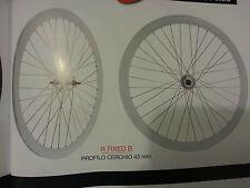 coppia di ruote fixed bianche cerchio con profilo da 43mm nuove