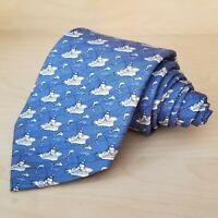 Vineyard Vines Necktie Blue Fishing Boat Dolphin Print 100% Silk USA