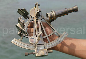 Nautical Maritime Antique Brass Ship Sextant Astrolabe Beautiful Working Sextant