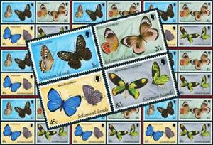 $$ wholesale $$ SOLOMON IS. 1980 BUTTERFLIES x10 MNH INSECTS