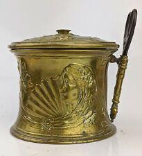 An Exceptional Art Nouveau Brass String box with original Scissors Maiden Flower