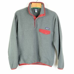 PATAGONIA SYNCHILLA GRAY RED TRIM PULLOVER SNAP T JACKET MEN'S MEDIUM