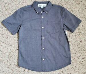 NWT Old Navy Boys Dark Blue Chambray Short Sleeve Button Down Shirt Sz 10-12