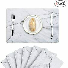 6 PCS Marble Placemats Plactic Waterproof Thin Environmental Materials Easy For