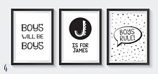 Boys bedroom A4 Prints - home decor. boys will be boys, boys rule, personalised