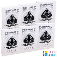 6 DECKS BICYCLE GHOST WHITE ELLUSIONIST PLAYING CARDS BOX CASE MAGIC TRICKS NEW
