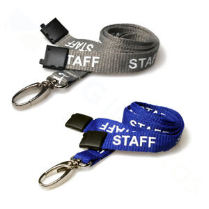 Grey / Blue Staff Printed Lanyard with Metal Lobster Clip & Safety Breakaway