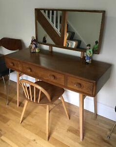Mid Century Ercol Light Elm Dressing Table Mirror Vintage Retro Desk Chair RARE!