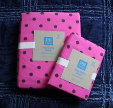 Pottery Barn teen Tonal Dottie Duvet Cover 2 pillowcase Full Queen pink Coffee