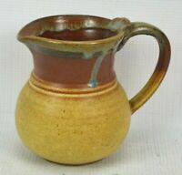 "Beautiful Glazed Pottery Pitcher Small 4.75"" x 5.5"" Brown Red Jar Jug"