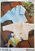 UKHKA 80 Knitting Pattern - Baby/Child's Sweater & Cardigan Knitted in DK Wool