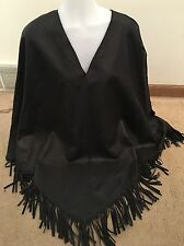 Revue Collection 100% Suede Fringe Cape Poncho Sweater Women One Sz 6 $1395
