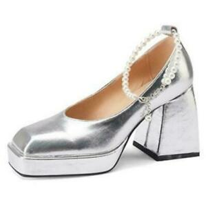 Elegant Women Square Toe Block Heel Casual Princess Mary Janes Ankle Strap Shoes