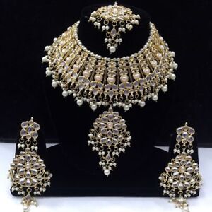Traditional Indian Bollywood Kundan Choker Style Bridal Necklace Jewelry Set--