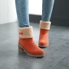 Women's   block heel Fleece Lining Cuffed pull on Mid Calf Boots Casual Shoes