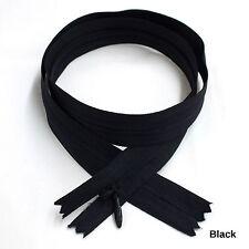 "12 pcs Quality BKC Invisible Zipper Top Open Bottom Closed Black, 24"""