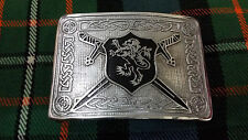 Men's Scottish Saltire Lion Rampant Kilt Belt Buckle Black Enamel/Rampant Lion