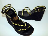 Miu Miu 37.5 7M Black Yellow Braided Suede Leather Platform Wedge Heels Italy