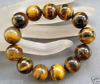 10MM Natural Yellow Tiger Eye Stone Gemstone Beads Men Jewelry Bracelet Bangle