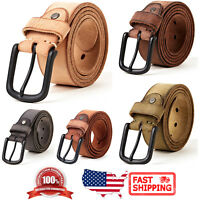 Men's Classic Metal Buckle Handcrafted Genuine Italian Full Grain Leather Belt