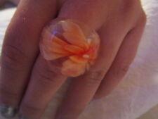 Ring Gr. 18 (57) Glas Ring Modeschmuck  kein Metall Transparent Orange Blume