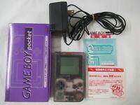 L809 Nintendo Gameboy Pocket Console Clear Purple Japan GB w/box manual adapter