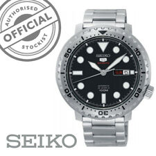 Seiko5 Sports Bottle Cap Stainless Steel Black Dial Automatic Mens Watch SRPC61K