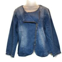 Suzanne Betro Womens Sz XL Jean Jacket Blue Denim Jacket Moto Style Side Zip